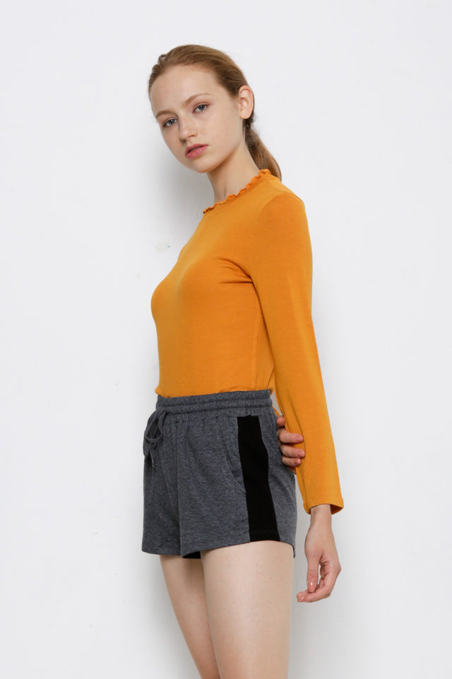 Ribbed Long Sleeve Blouse - Yellow