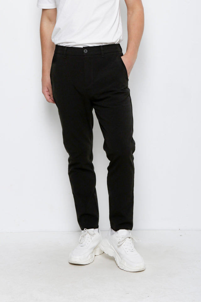 Men Cotton Long Pants - Black - MDH9H2099