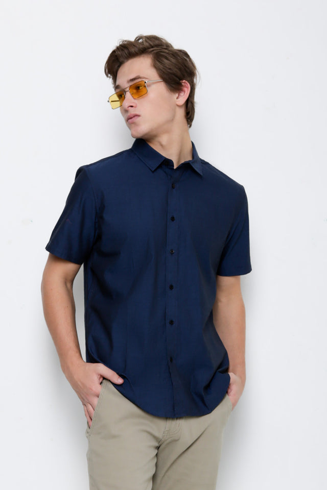 Smart Casual Short Sleeve Shirt - Dark Blue