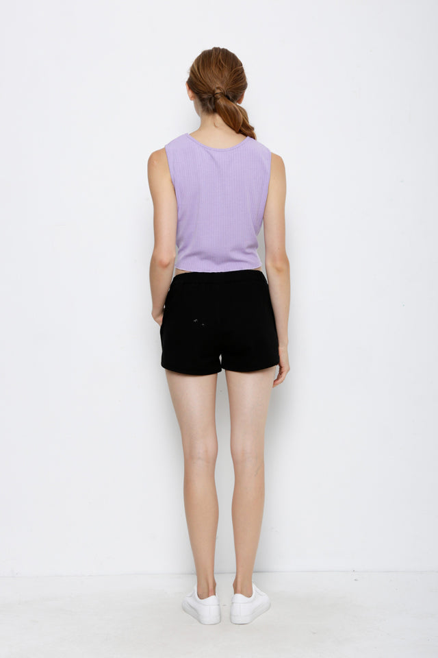 Sleeveless Tied Front Top - Purple