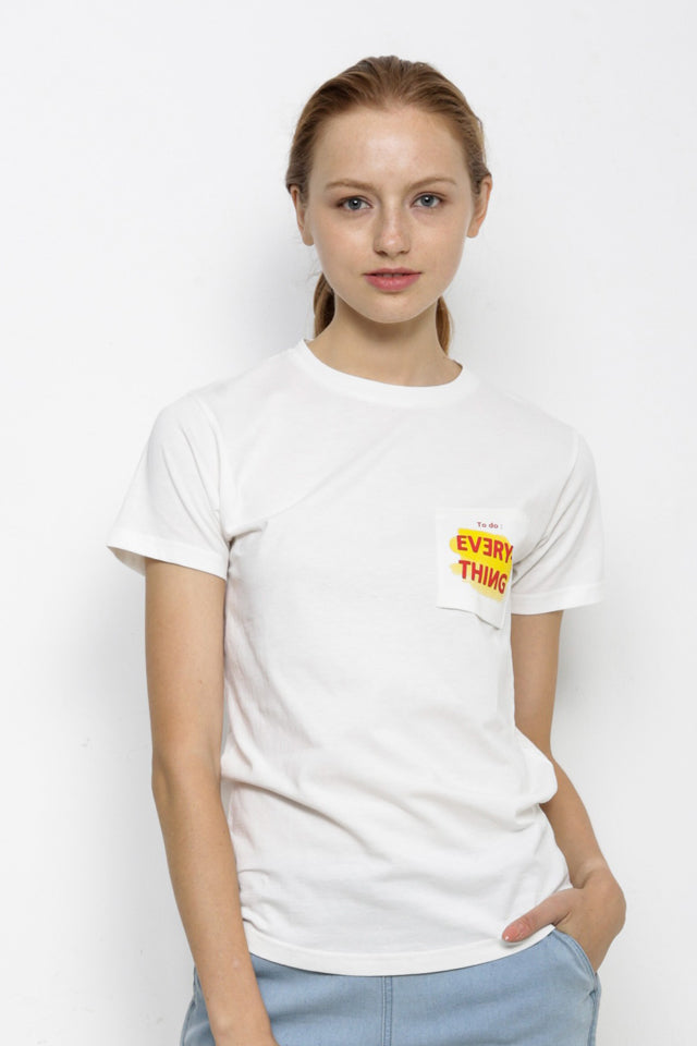 Short Sleeve Slogan Tee - White