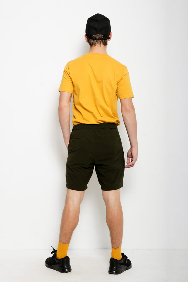 Short Pants With Belt - Dark Green