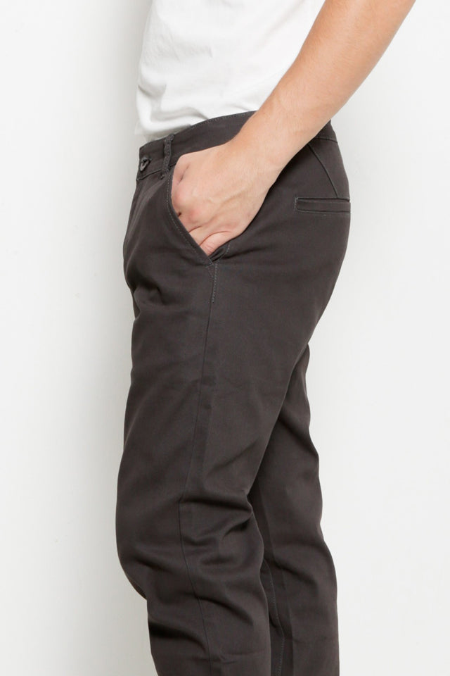 Men Slim Fit Long Pants - Dark Grey