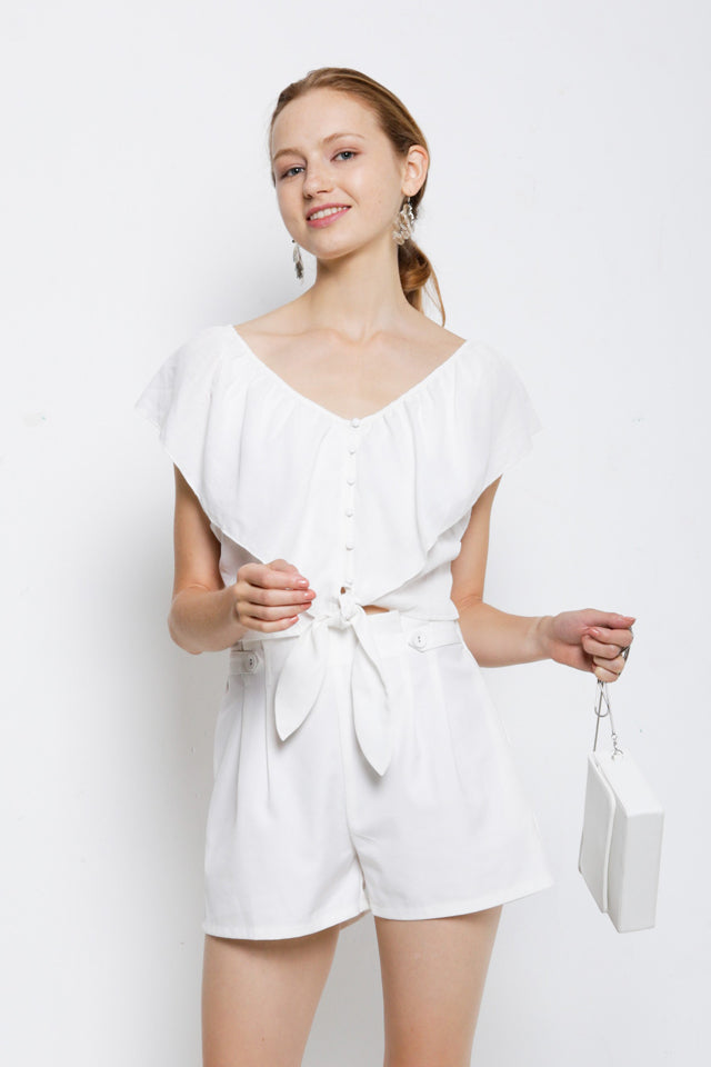 V Neck Tied Front Blouse - White
