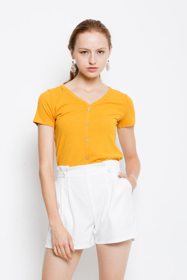 Front Button Ribbed Blouse - Yellow