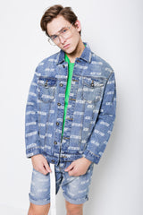 Full Print Denim Jacket - Light Blue