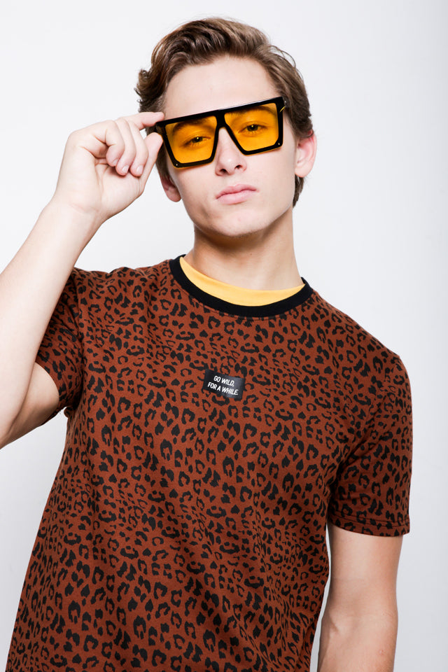 Leopard Print Short Sleeve T-Shirt - Brown