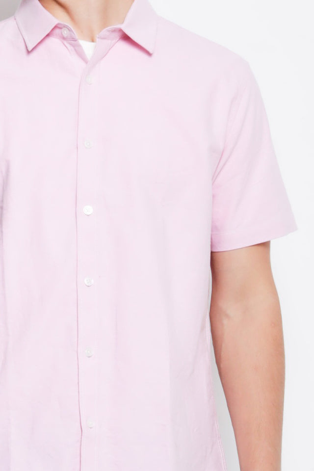 Men Smart Casual Short Sleeve Shirt - Pink - XYH9H2216