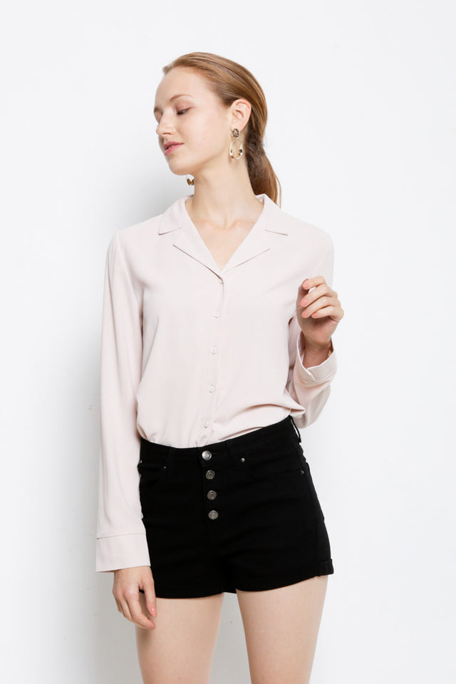 Women Long Sleeve Shirt - Beige