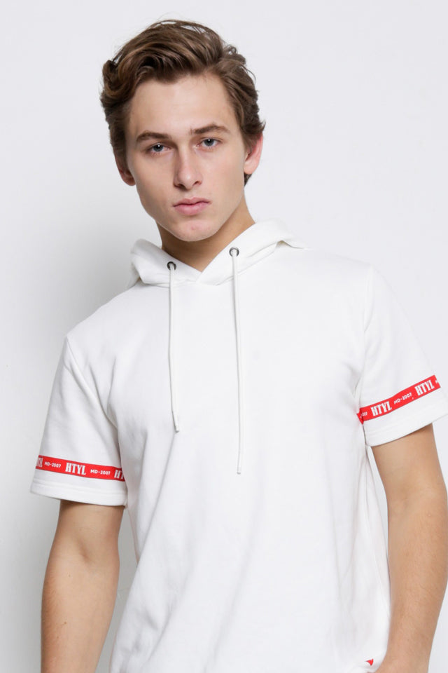 Men Short Sleeve Graphic Hoodie Sweatshirt - White - CPH9H2049
