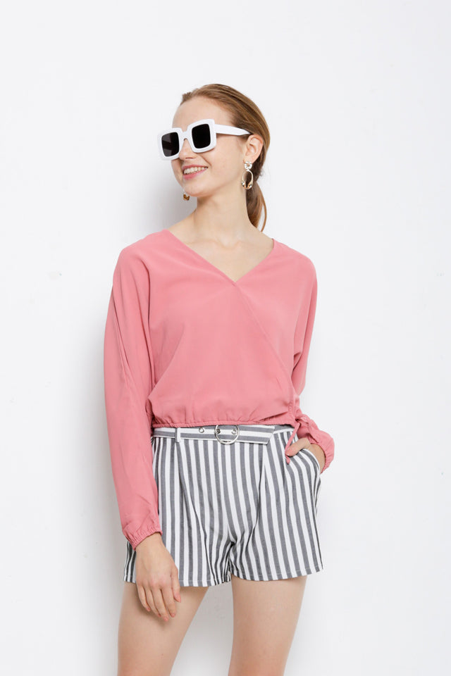 Striped Front Overlap Blouse - Pink