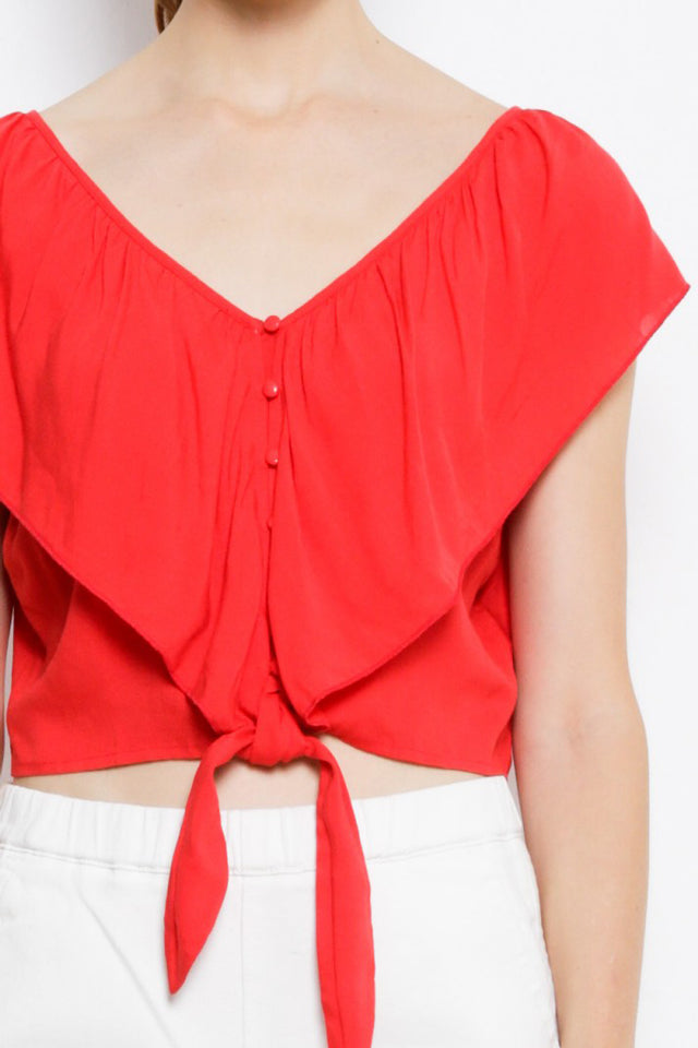 Women V Neck Tied Front Blouse - Orange - USH9F1892
