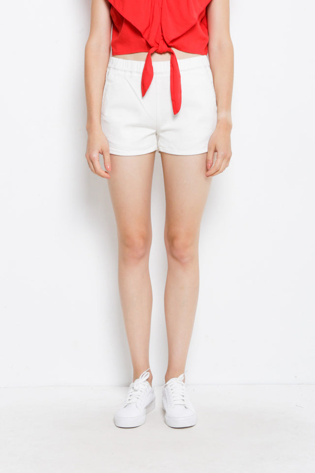 Women Short Jeans Jogger - White