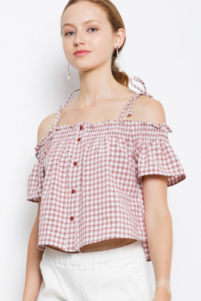 Checkered Off-Shoulder Tie Strap Blouse - Pink