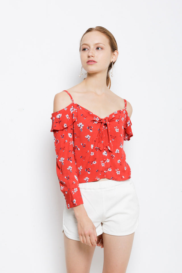 Women Floral Off Shoulder Woven Long Sleeve Blouse - Orange