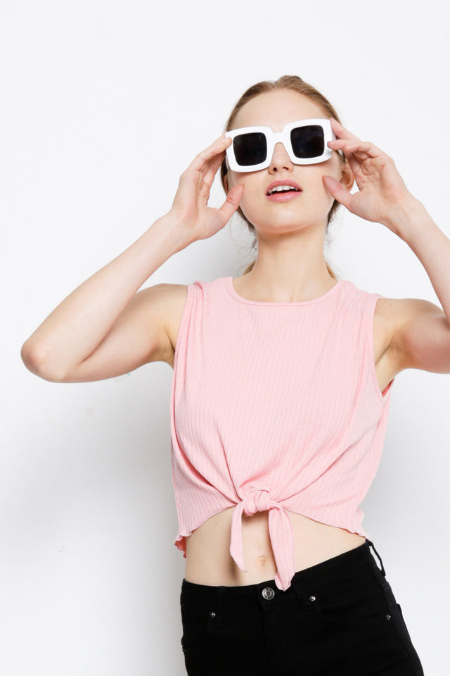 Sleeveless Tied Front Top - Pink