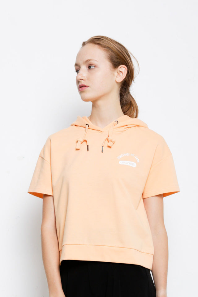 Graphic Short Sleeve Hoodie Sweartshirt - Orange