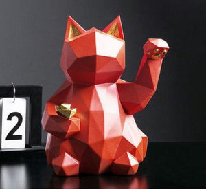 Lucky Cat Geometric Figurine