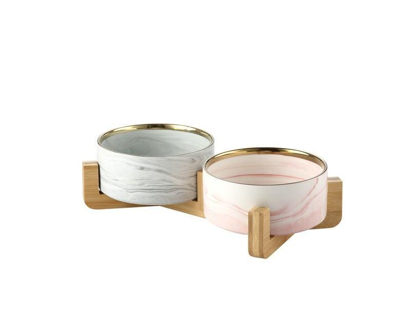 Marble and Bamboo Pet Bowl - KittyNook