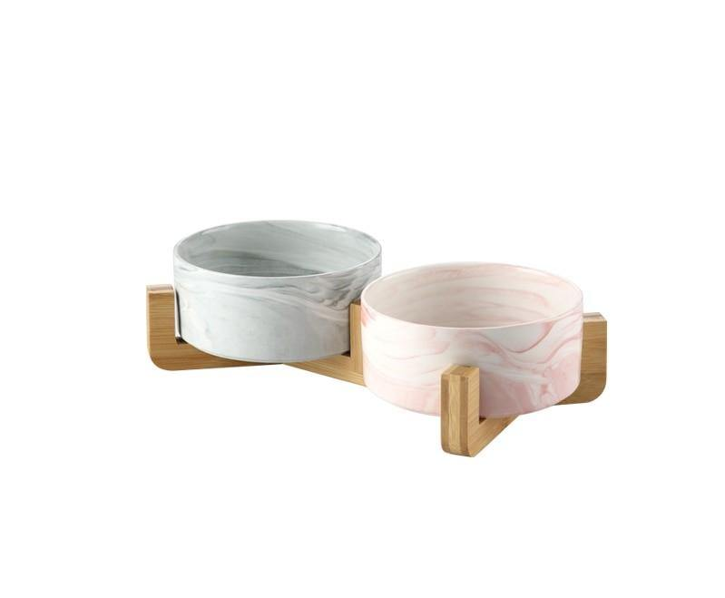 Marble and Bamboo Pet Bowl