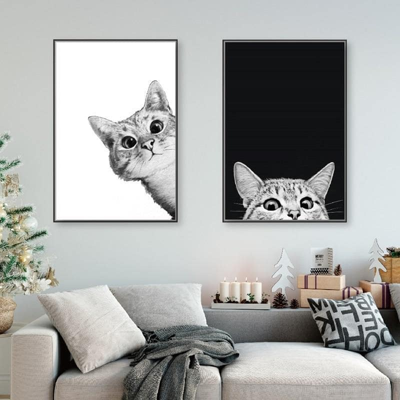 Nordic Style Cat Painting - KittyNook