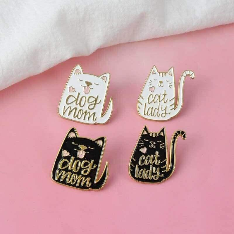 So Kawaii! Cat Lady and Dog Mom Pins - KittyNook