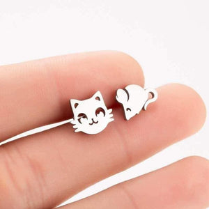 So Kawaii! Dainty Stainless Steel Cat Earrings (Plus Holiday Designs)