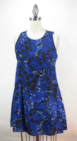 Aqua Womens Blue Floral Polyester Fit and Flare Dress SZ M