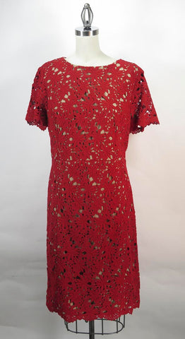TALBOTS Red Floral Lace Dress SZ 12