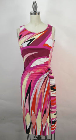 Emilio Pucci Made in Italy Multicolor Pink Print Ruched Side Tie Dress SZ 8