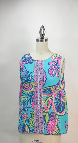 Lilly Pulitzer Sleeveless Silk Multi-Color Button Back Top Size Medium