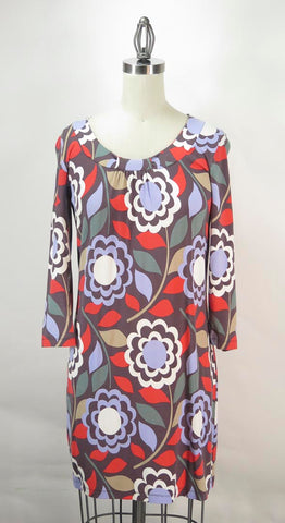 BODEN Women's Brown Blue Red Green Floral Knit Scoop Neck 3/4 Sleeve Dress Sz 8
