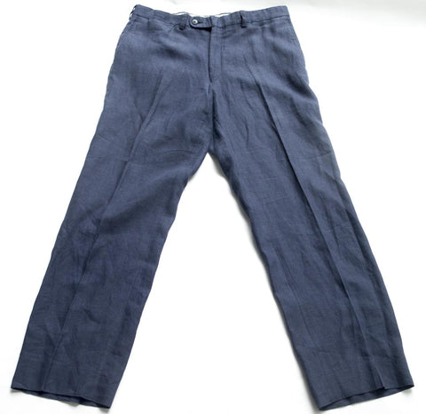 Saks Fifth Avenue flat front blue linen pants Size 34R
