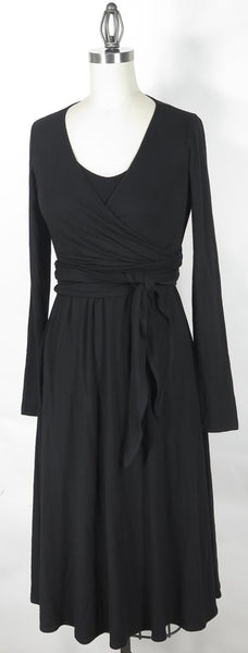 Theory black knit tie waist surplice wrap swing dress Size S