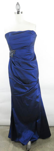 David Meister Royal Blue Strapless Gown Dress Jeweled Waist Draped Skirt SZ 8