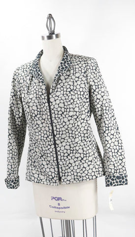 Lafayette 148 New York Women's Black & White Cheetah Print Jacket SZ 10 NWT