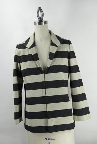 Lafayette 148 New York Black & Metallic Gold Stripe Short Jacket SZ M