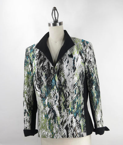 Lafayette 148 New York Women's Green Spatter Print Silk Jacket SZ 10 NWOT