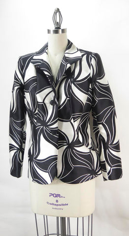 Lafayette 148 Wool & Silk Blend Black and White Evening Jacket Sz 8