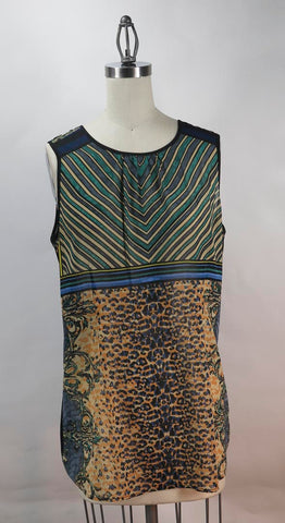 "CAbi ""Buchanan"" Leopard Print Animal Stripe sleeveless Tunic Top SZ M"