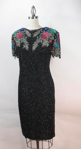 SCALA Black 100% Silk Knee-Length Sequin Bodycon Dress Size M