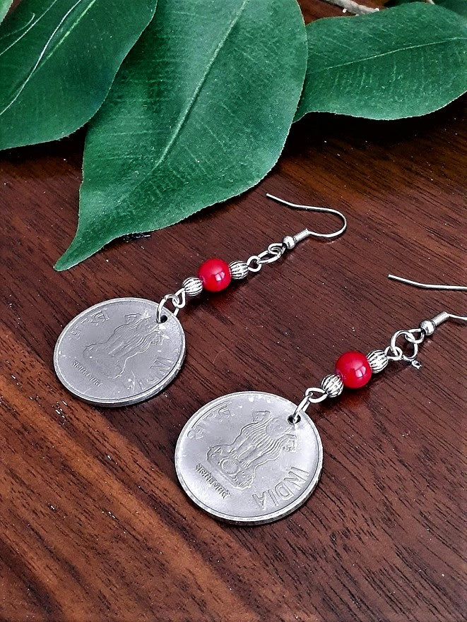 International Coin Earrings with Red/Silver Beads