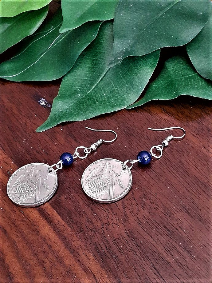 International Coin Earrings with Dark Blue Beads