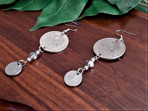 International Coin Earrings with Silver Beads