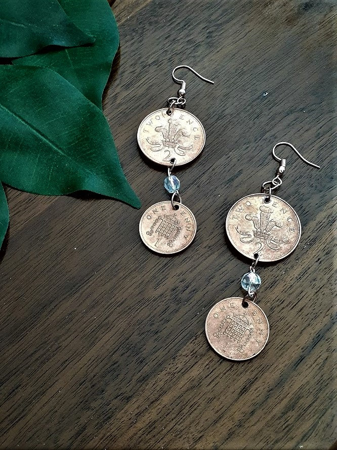 International Coin Earrings with Clear Beads