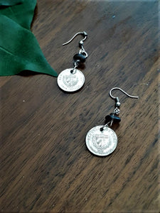 International Coin Earrings with Black Rock