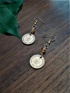 International Coin Earrings with Orange Clear Beads