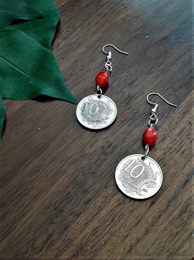 International Coin Earrings with Red Beads