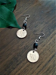 International Coin Earrings with Black Beads