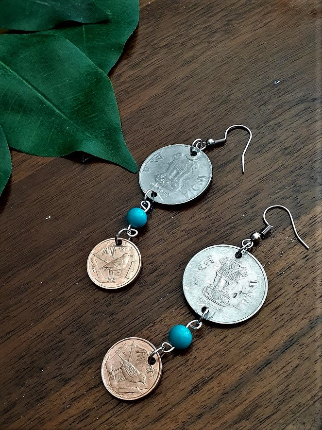 International Coin Earrings with Turquoise Beads